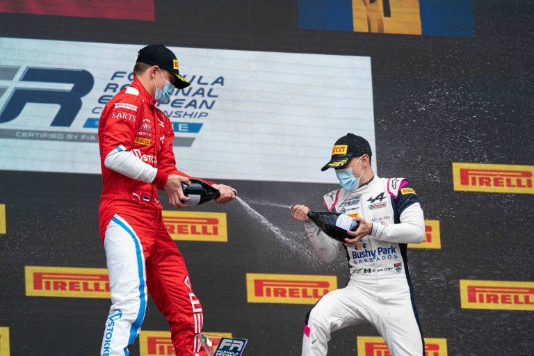 Drivers celebrate their victories with the new Apollonio sparkling wine